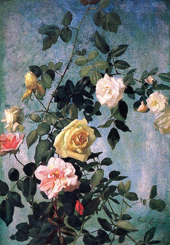 George Cochran Lambdin Pink, Yellow and White Roses - Hand Painted Oil Painting