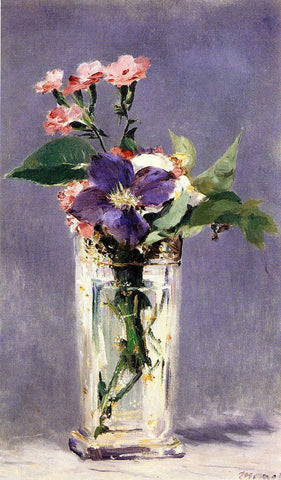 Edouard Manet Pinks and Clematis in a Crystal Vase - Hand Painted Oil Painting