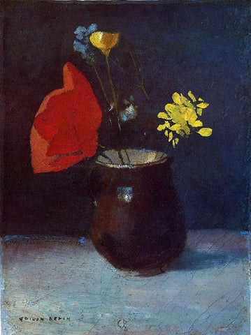 Odilon Redon Pitcher of Flowers - Hand Painted Oil Painting