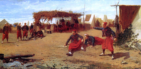 Winslow Homer Pitching Quoits (also known as Pitching Horseshoes or Quoit Players) - Hand Painted Oil Painting