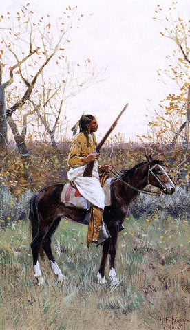 Henry F Farney Plains Indian - Hand Painted Oil Painting