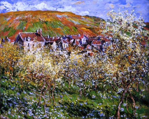 Claude Oscar Monet Plum Trees in Blossom at Vetheuil - Hand Painted Oil Painting