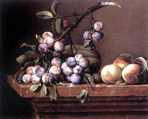 Pierre Dupuys Plums and Peaches on a Table - Hand Painted Oil Painting
