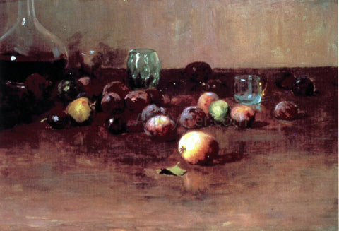 Guy Orlando Rose Plums, Waterglass and Peaches - Hand Painted Oil Painting