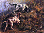 Edmond H Osthaus Pointer, Setter and Grouse - Hand Painted Oil Painting