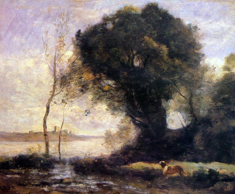 Jean-Baptiste-Camille Corot Pond with Dog - Hand Painted Oil Painting