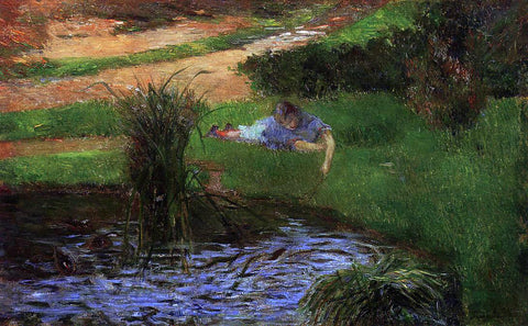 Paul Gauguin Pond with Ducks (also known as Girl Amusing Herself) - Hand Painted Oil Painting