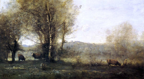 Jean-Baptiste-Camille Corot Pond with Three Cows (also known as Souvenir of Ville d'Avray) - Hand Painted Oil Painting