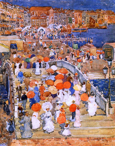 Maurice Prendergast Ponte della Paglia (also known as Marble Bridge) - Hand Painted Oil Painting