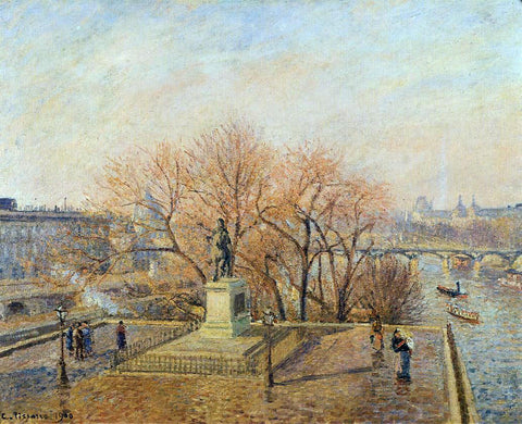 Camille Pissarro Ponty-Neuf, the Statue of Henri IV, Sunny Weather, Morning - Hand Painted Oil Painting