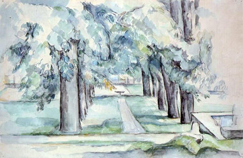 Paul Cezanne Pool and Lane of Chestnut Trees at Jas de Bouffan - Hand Painted Oil Painting