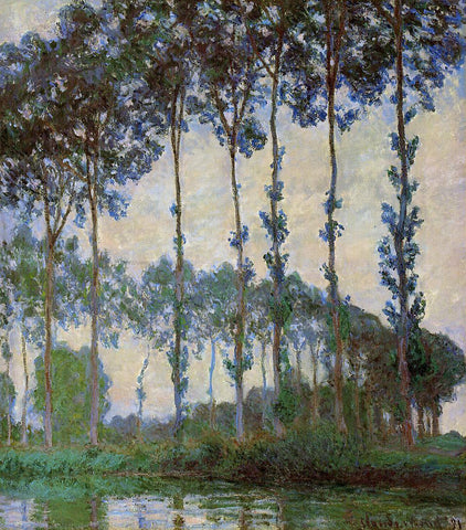 Claude Oscar Monet Poplars on the Banks of the River Epte, Overcast Weather - Hand Painted Oil Painting