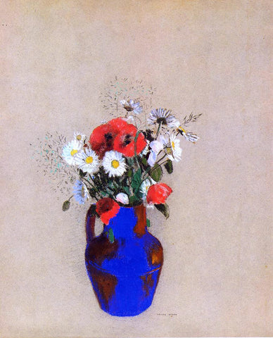 Odilon Redon Poppies and Daisies in a Blue Vase - Hand Painted Oil Painting