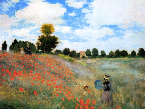 Claude Oscar Monet A Field of Poppies at Argenteuil - Hand Painted Oil Painting