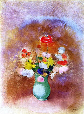 Odilon Redon Poppies in a Vase - Hand Painted Oil Painting