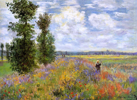 Claude Oscar Monet A Poppy Field, Argenteuil - Hand Painted Oil Painting