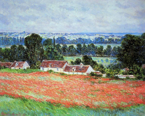 Claude Oscar Monet Poppy Field at Giverny - Hand Painted Oil Painting