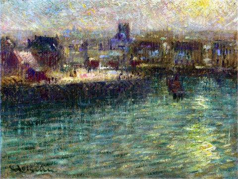 Gustave Loiseau Port at Dieppe - Hand Painted Oil Painting