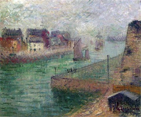 Gustave Loiseau Port at Dieppe in Fog - Hand Painted Oil Painting