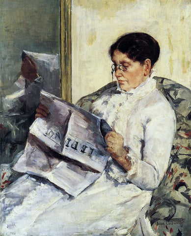 Mary Cassatt Portrait of a Lady (also known as Reading 'Le Figaro') - Hand Painted Oil Painting
