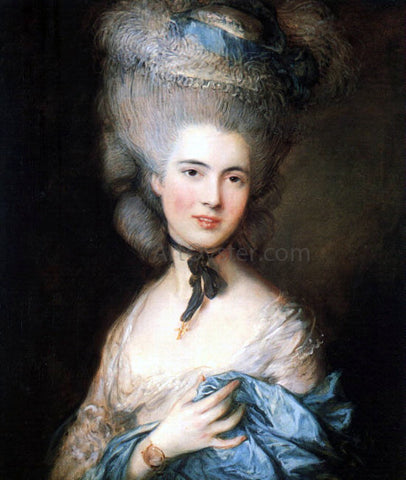 Thomas Gainsborough Portrait of a Lady in Blue - Hand Painted Oil Painting