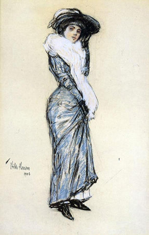 Frederick Childe Hassam Portrait of a Lady in Blue Dress - Hand Painted Oil Painting