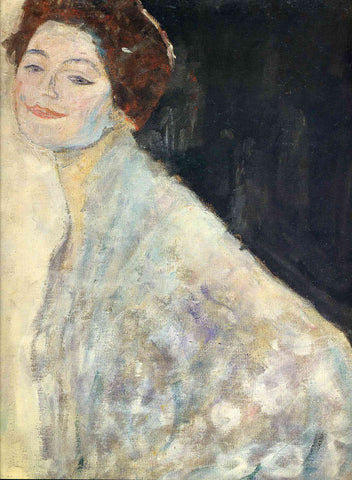 Gustav Klimt Portrait of a Lady in White (unfinished) - Hand Painted Oil Painting