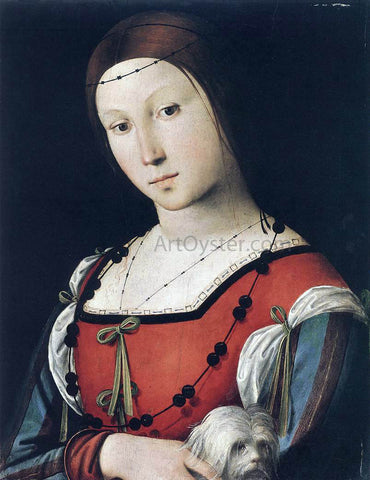 The Elder Lorenzo Costa Portrait of a Lady with a Lap-Dog - Hand Painted Oil Painting