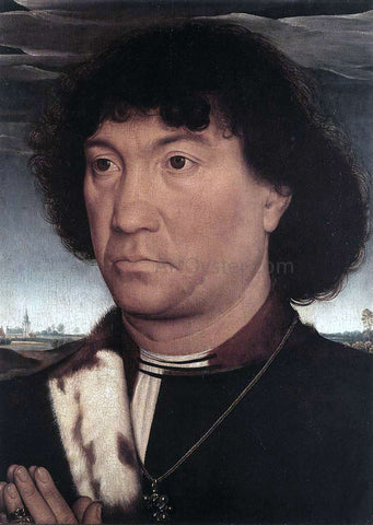 Hans Memling Portrait of a Man at Prayer Before a Landscape - Hand Painted Oil Painting