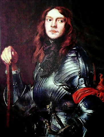 Sir Antony Van Dyck Portrait of a Man in Armour with Red Scarf - Hand Painted Oil Painting