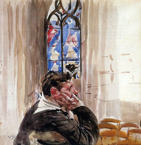 Giovanni Boldini Portrait of a Man in Church - Hand Painted Oil Painting