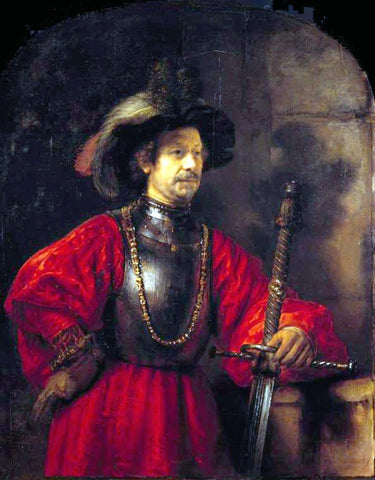 Rembrandt Van Rijn Portrait of a Man in Military Dress - Hand Painted Oil Painting