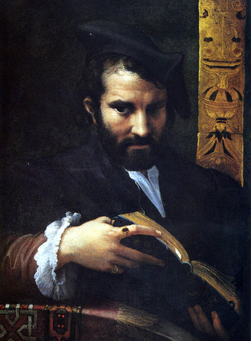 Girolamo Mazzola (Parmigianino) Portrait of a Man With A Book - Hand Painted Oil Painting