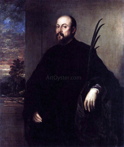 Titian Portrait of a Man with a Palm - Hand Painted Oil Painting