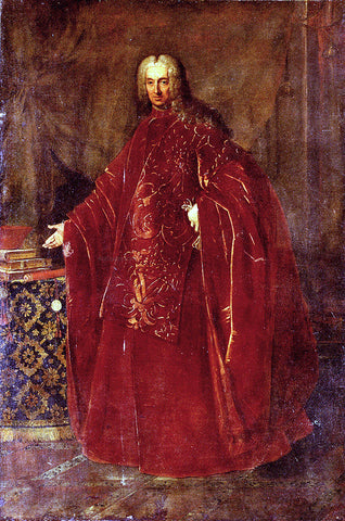 Nazzario Nazzari Portrait Of A Venetian Senator, Full Length, Standing By A Table - Hand Painted Oil Painting