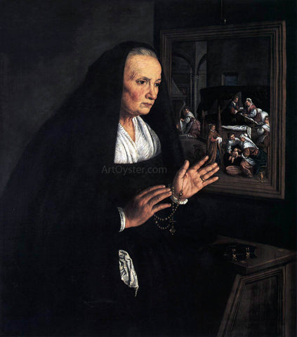 Leandro Bassano Portrait of a Widow at her Devotions - Hand Painted Oil Painting