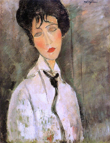 Amedeo Modigliani Portrait of a Woman in a Black Tie - Hand Painted Oil Painting