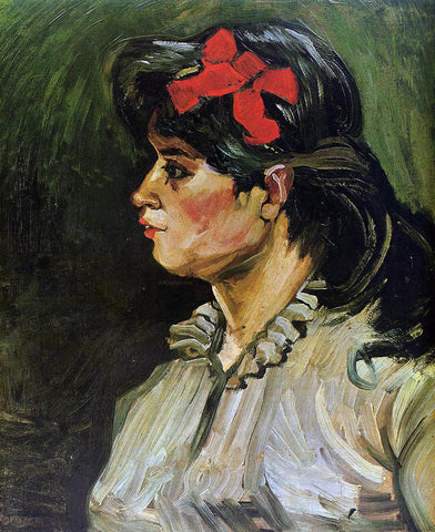 Vincent Van Gogh Portrait of a Woman with a Red Ribbon - Hand Painted Oil Painting