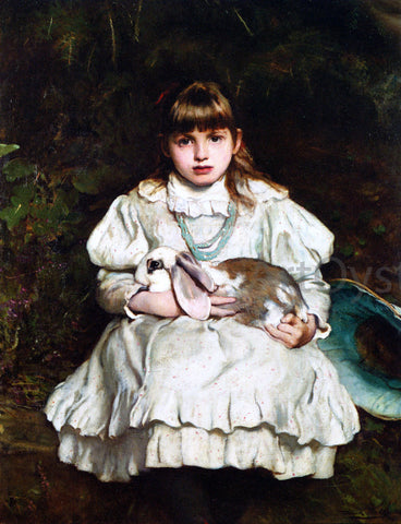 Frank Holl Portrait of a Young Girl Holding a Pet Rabbit - Hand Painted Oil Painting