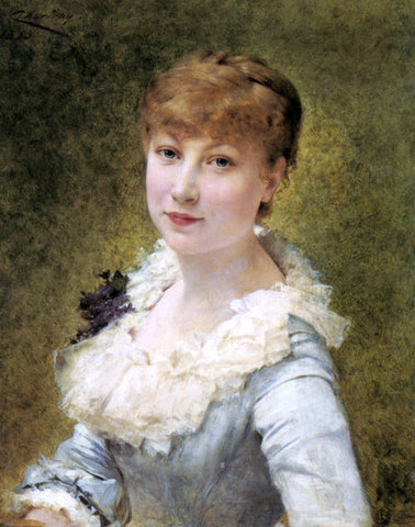 Theobald Chartran Portrait of a Young Lady - Hand Painted Oil Painting