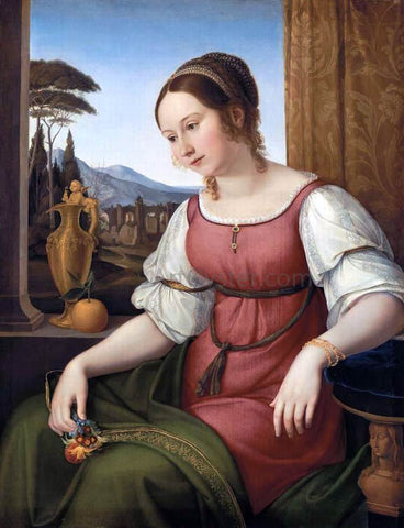 Friedrich Wilhelm Von Schadow Portrait of a Young Roman Woman (Angelina Magtti) - Hand Painted Oil Painting