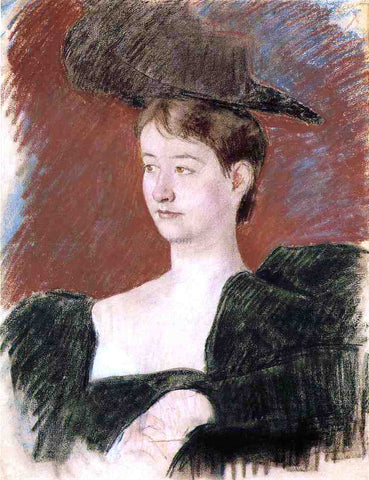 Mary Cassatt Portrait of a Young Woman in Green - Hand Painted Oil Painting