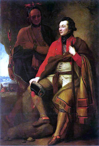 Benjamin West Portrait of Colonel Guy Johnson and Karonghyontye - Hand Painted Oil Painting
