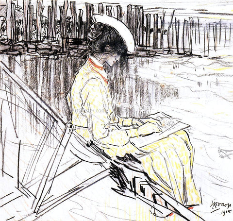 Jan Toorop Portrait of Emma Bellwidt on the Beach at Domburg - Hand Painted Oil Painting