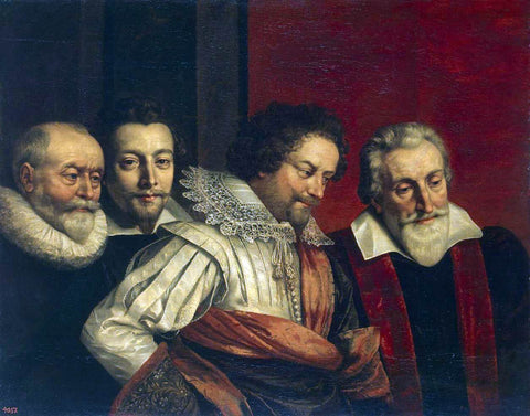 The Younger Frans Pourbus Portrait of Four Members of the Paris Council - Hand Painted Oil Painting