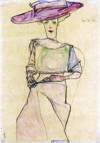 Egon Schiele Portrait of Frau Dr. Horak - Hand Painted Oil Painting
