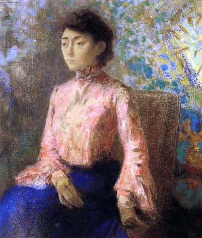 Odilon Redon Portrait of Jeanne Chaine - Hand Painted Oil Painting