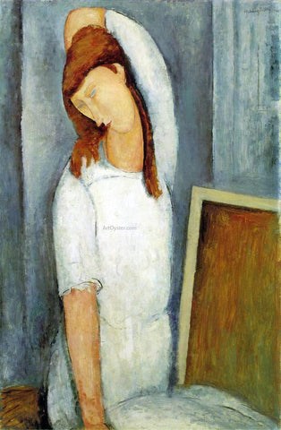 Amedeo Modigliani Portrait of Jeanne Hebuterne, Left Arm Behind Her Head - Hand Painted Oil Painting