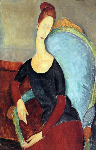 Amedeo Modigliani Portrait of Jeanne Hebuterne Seated in an Armchair - Hand Painted Oil Painting
