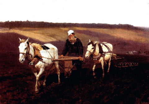 Ilia Efimovich Repin Portrait of Leo Tolstoy as a Ploughman on a Field - Hand Painted Oil Painting